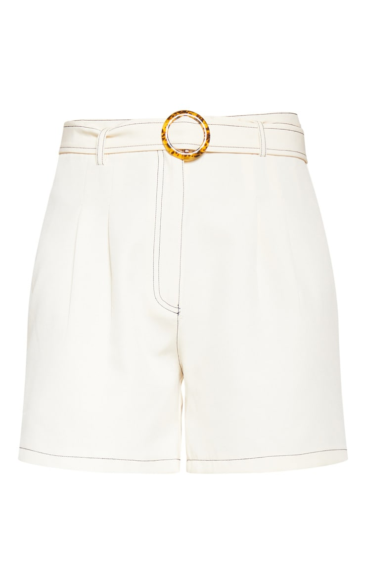 Cream Contrast Stitch Belted Tailored Short 3