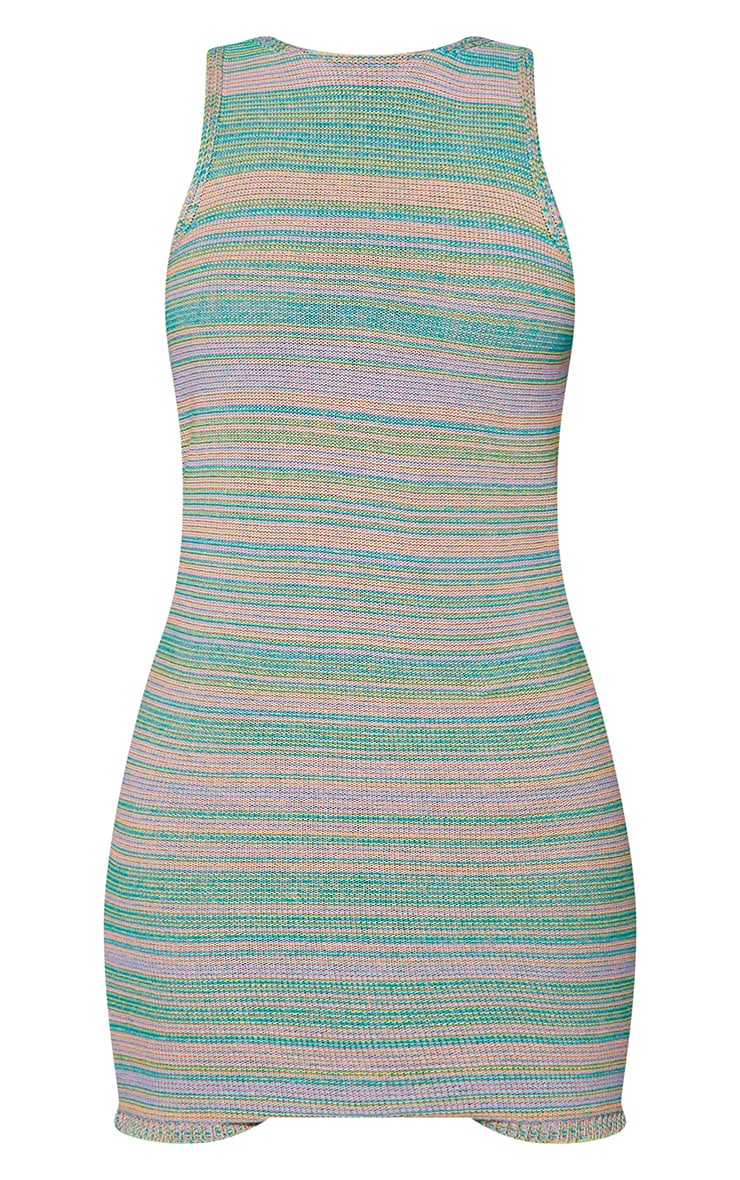 Green Knitted Multi Two Tone Racer Neck Mini Dress 5
