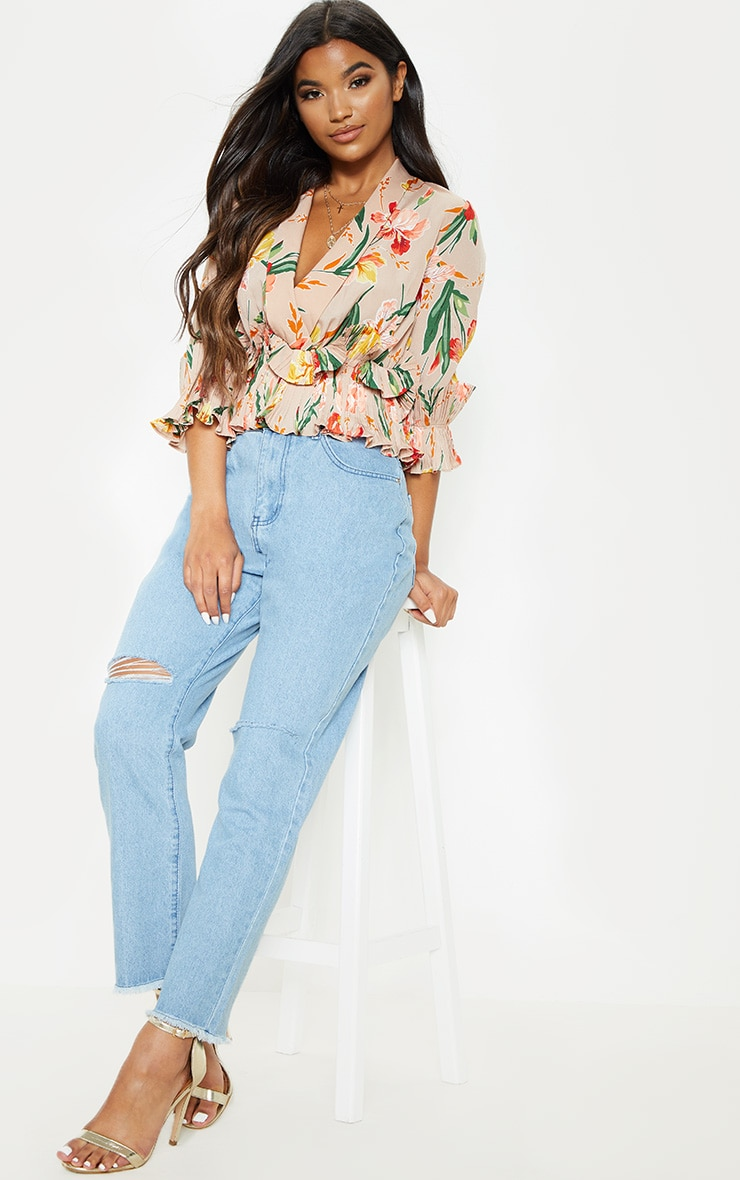 Nude Floral Frill Detail Pleated Blouse 3
