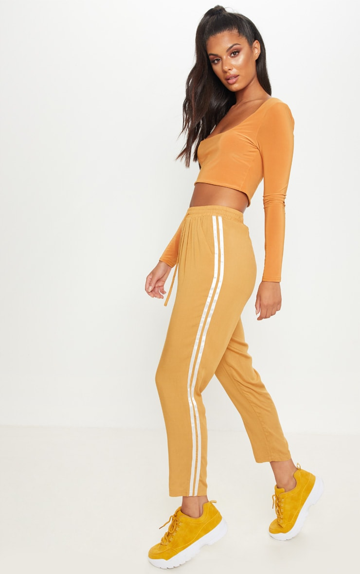 Camel Double Stripe Drawstring Casual Pants