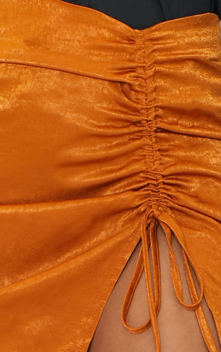 Rust Hammered Satin Ruched Detail Mini Skirt 5