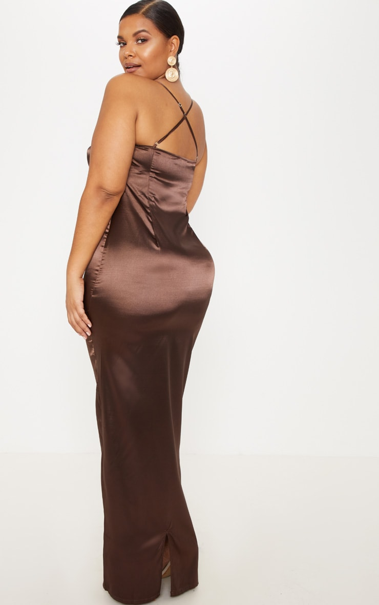Plus Chocolate Brown Satin Strappy Maxi Dress 2