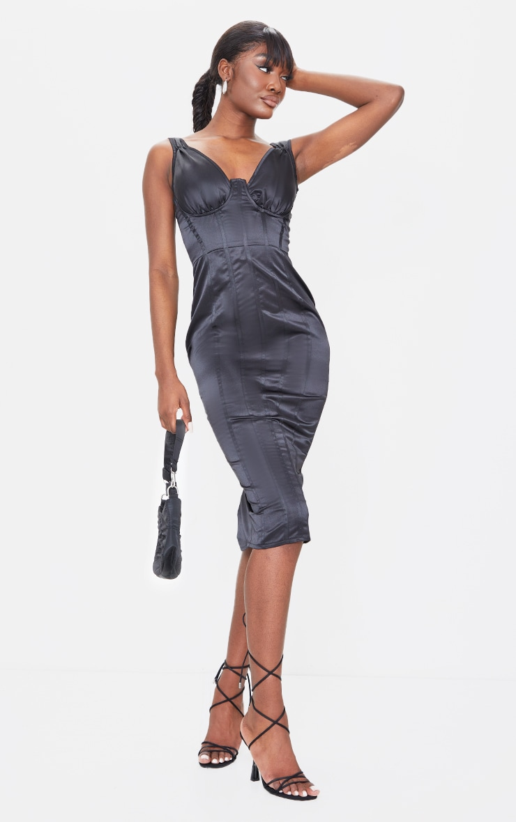 Tall Black Satin Corset Detail Midi Dress 1