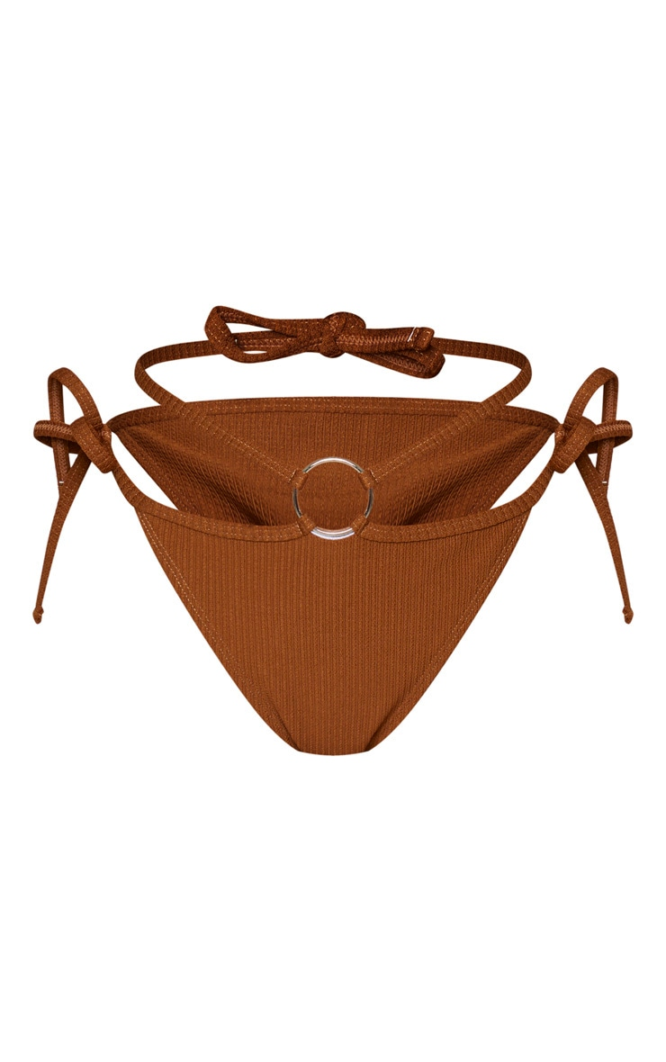 Brown Ribbed Ring Tanga Bikini Bottoms 1