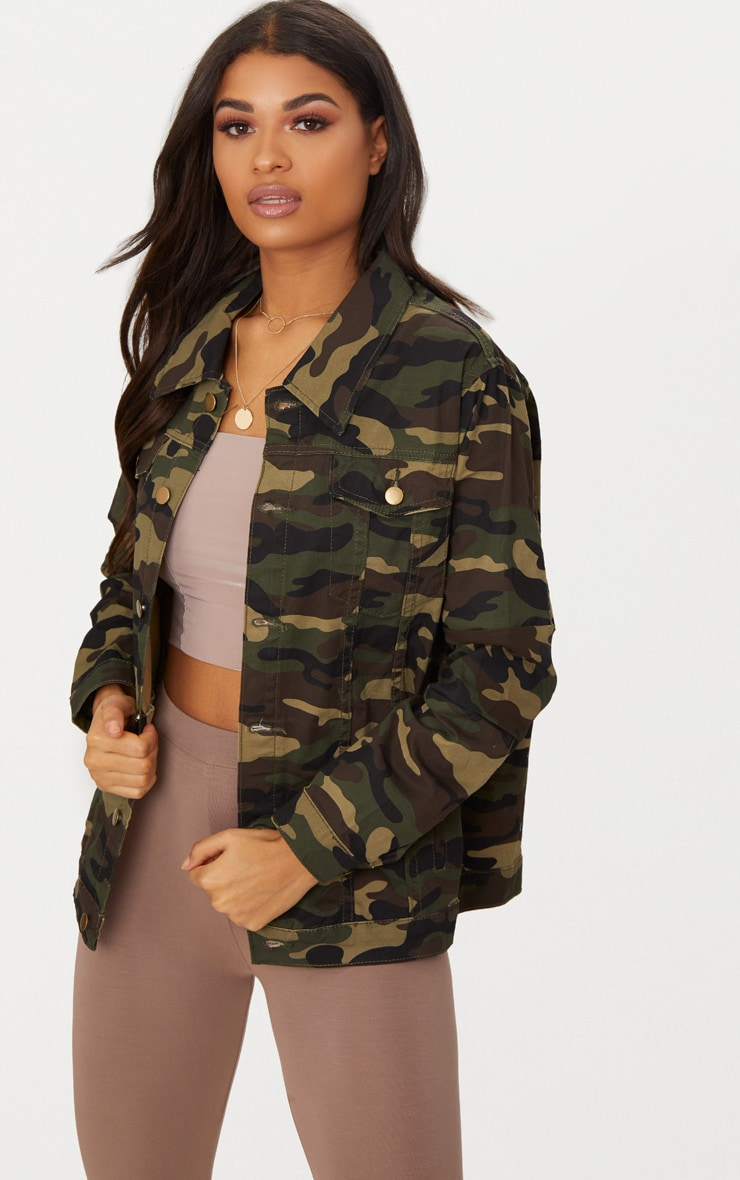 Camouflage Oversized Denim Jacket 4
