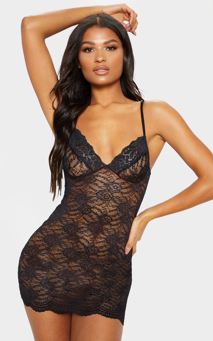 Black Lingerie Lace Slip Dress 1