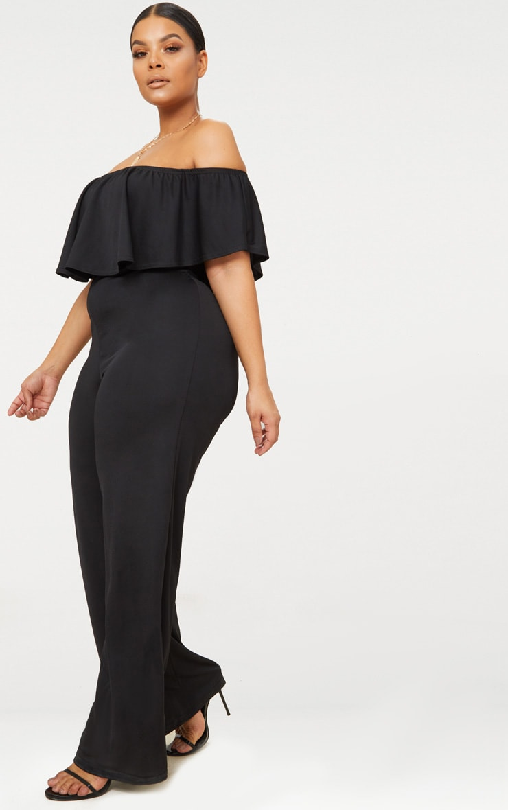 Plus Black Bardot Frill Jumpsuit 4