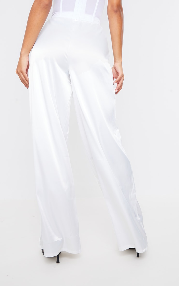 PRETTYLITTLETHING White Badge Satin Wide Leg Trousers 3