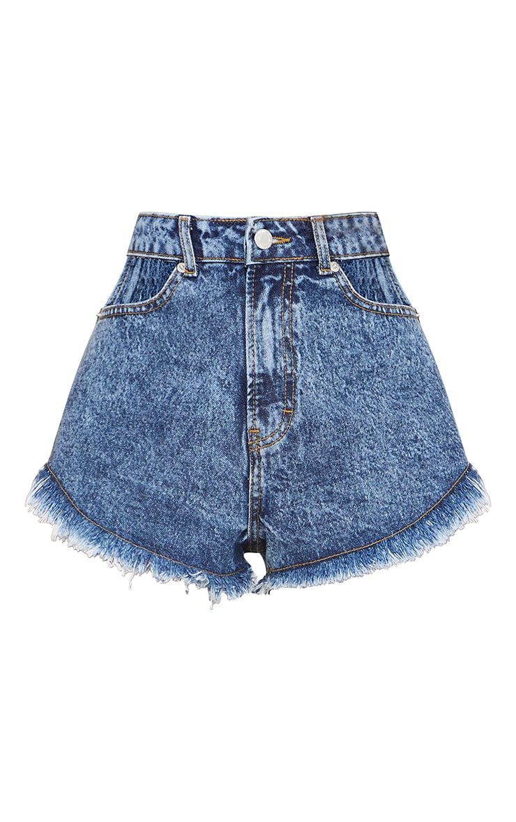 Acid Blue Wash Hip Cut Out Waist Denim Shorts 6