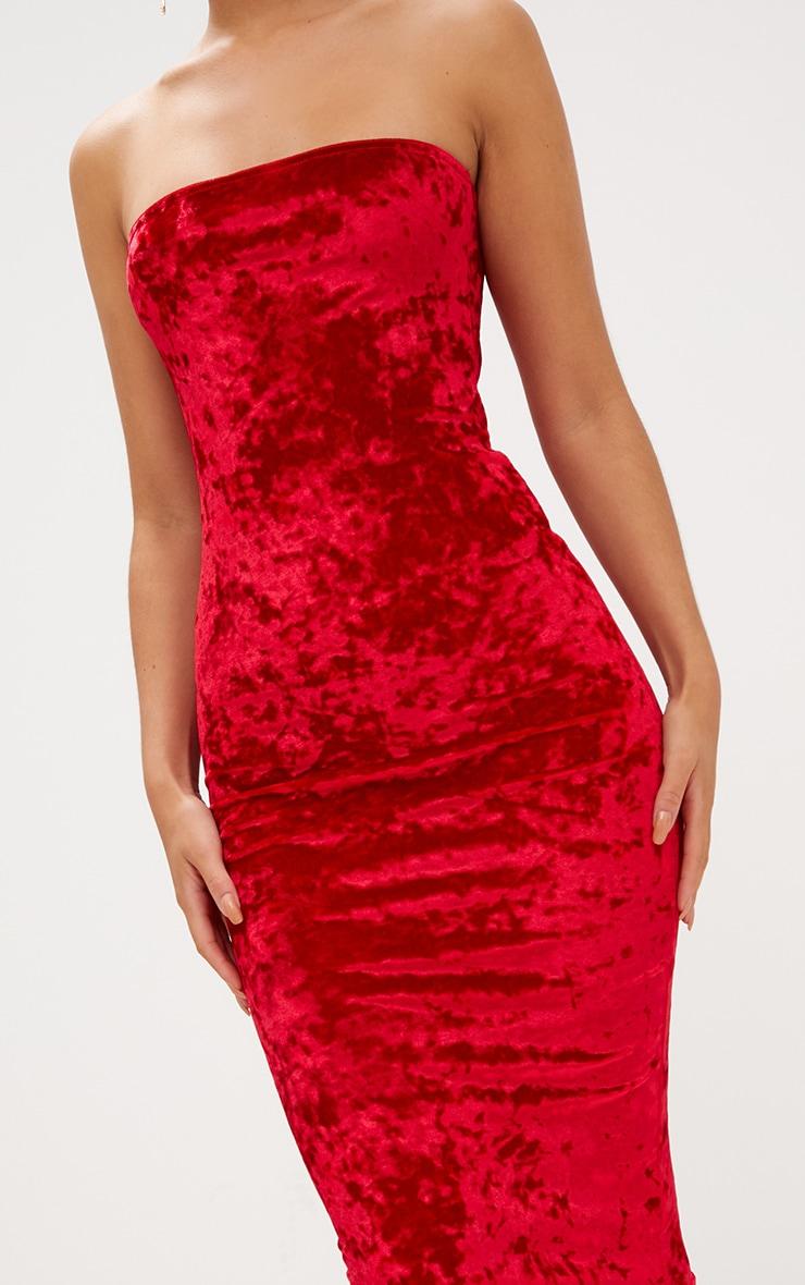 Red Velvet Frill Hem Bandeau Longline Midi Dress 5