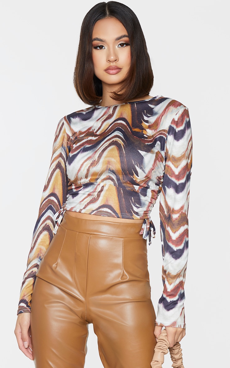 Beige Print Jersey Ruched Side Long Sleeve Crop Top 1