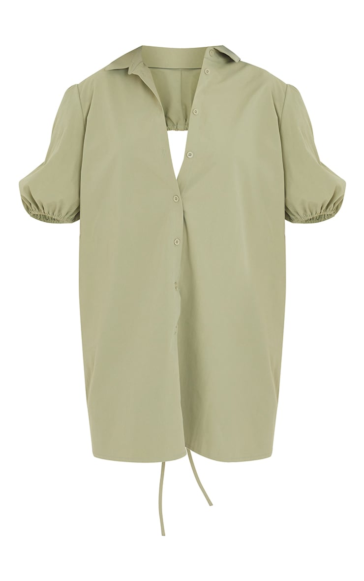 Sage Green Cut Out Ruched Back Puff Sleeve Shirt Dress 5