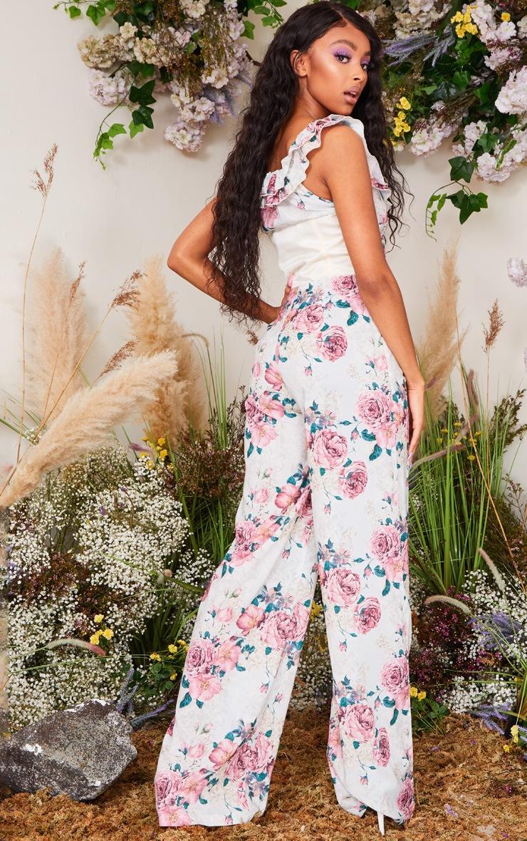 Pink Floral Print Corset Frill Bardot Jumpsuit 2
