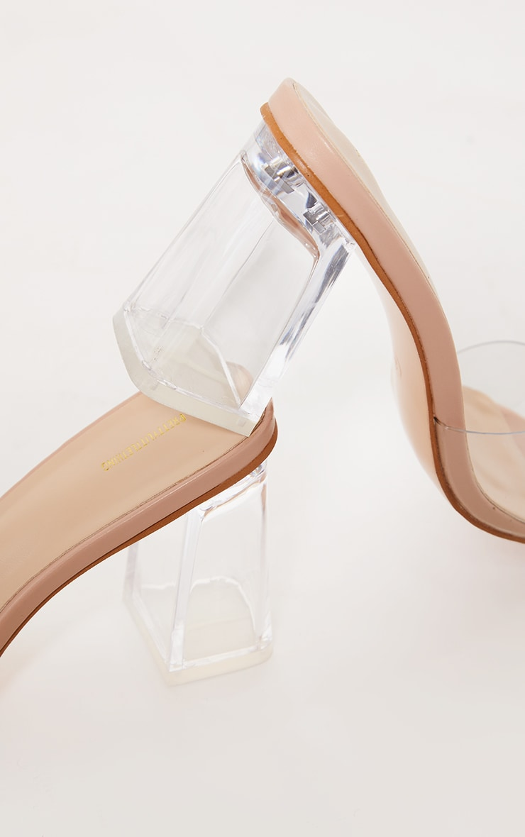 Nude Clear Strap High Clear Block Heel Mules 4