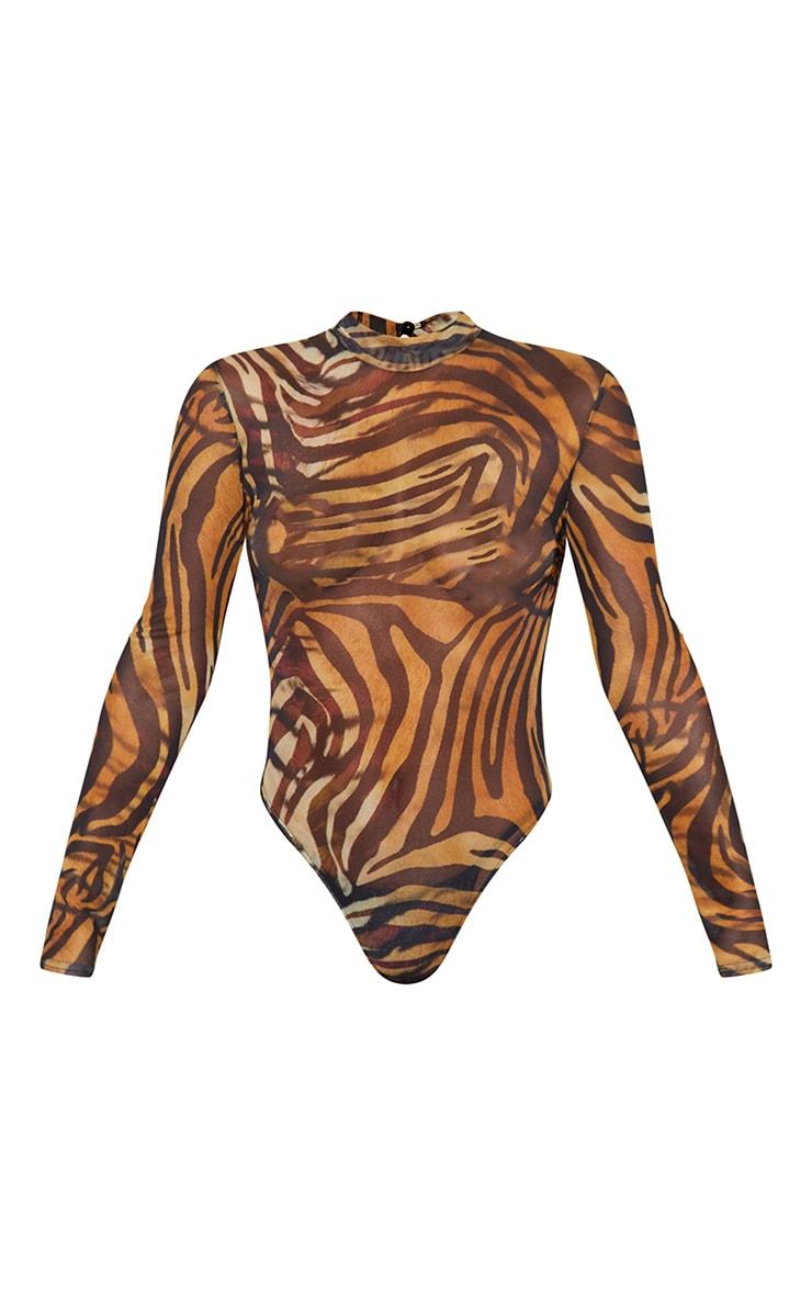 Brown Tiger Print Mesh Cut Out Back High Neck Long Sleeve Bodysuit 5