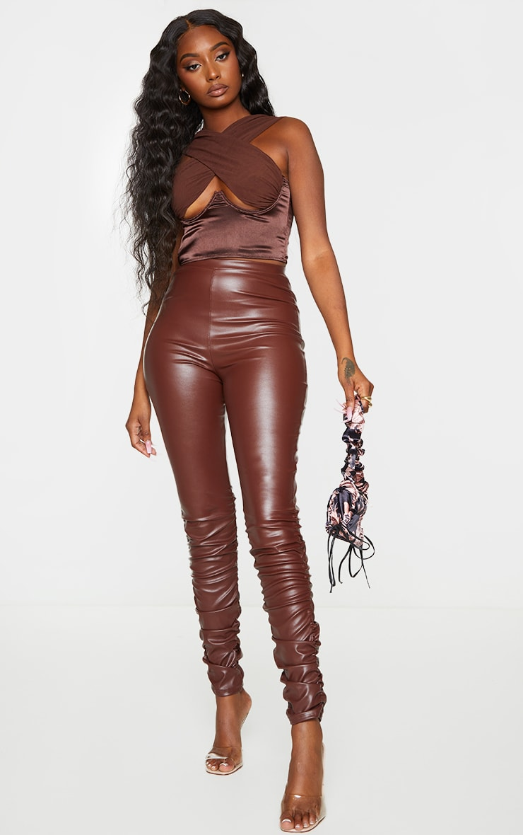 Brown Faux Leather Ruched Leg Skinny Trousers 1
