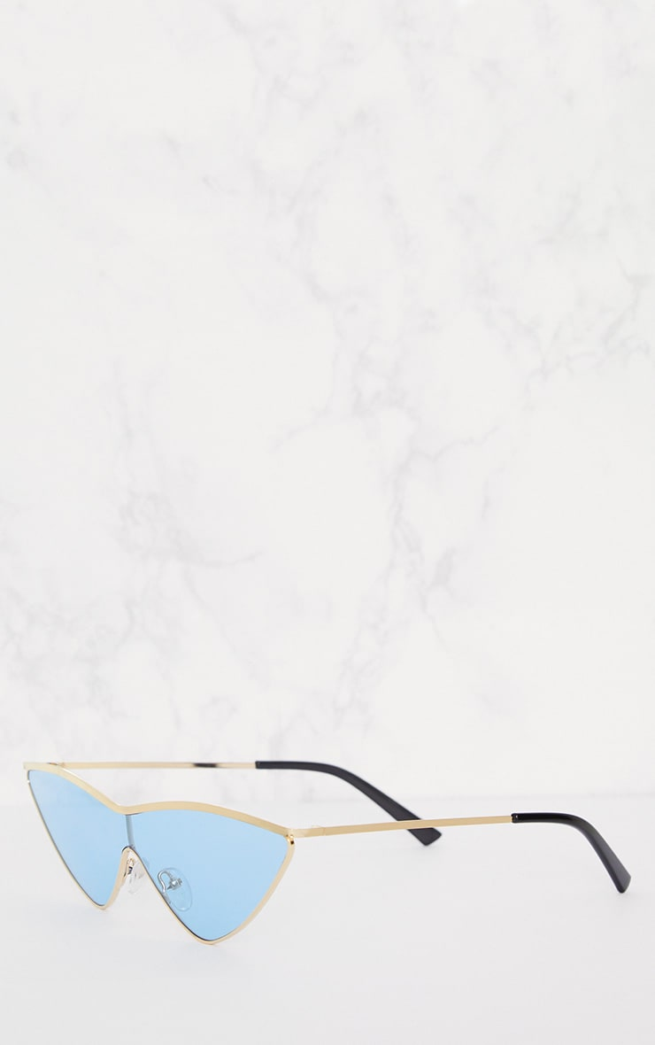 Light Blue Extreme Cat Eye Sports Sunglasses 3
