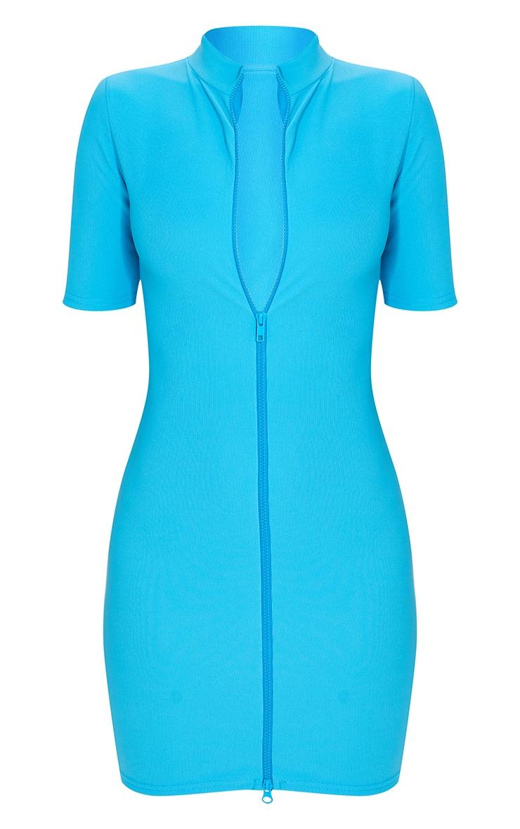 Robe moulante côtelée bleu vif zippée devant à manches courtes 5
