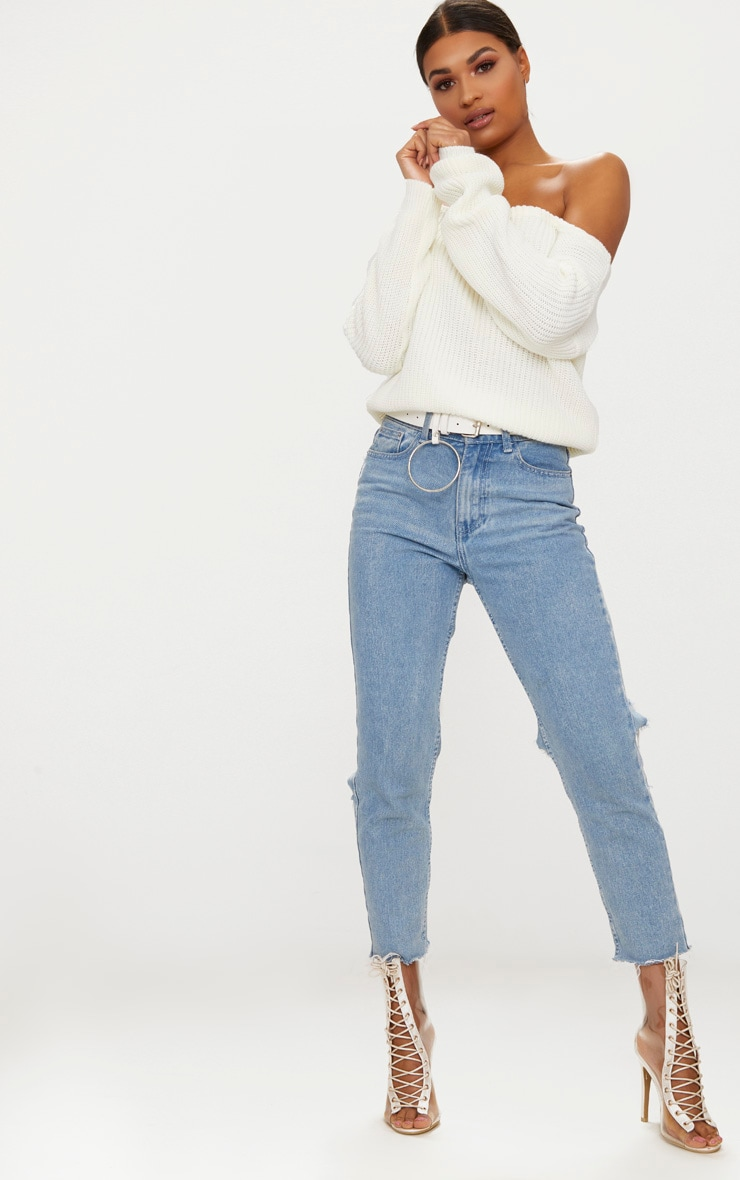 Cream Off The Shoulder Crop Sweater 4