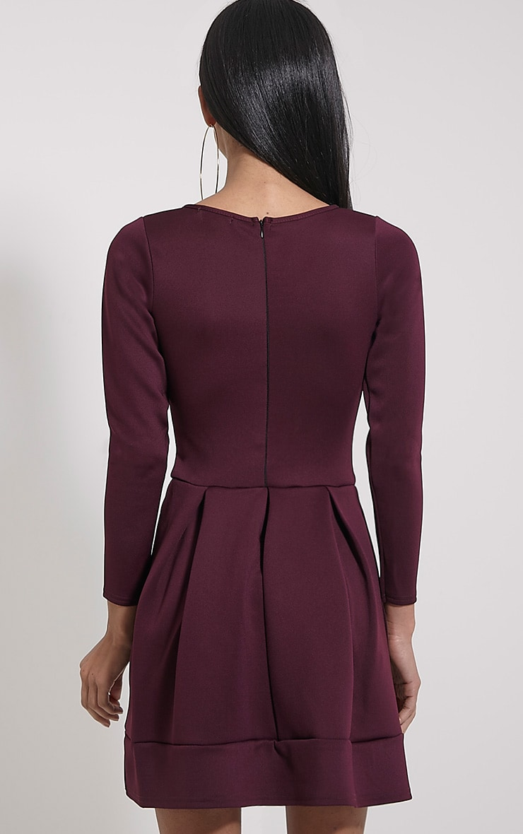 Grace Plum Box Pleat Long Sleeve Skater Dress 2