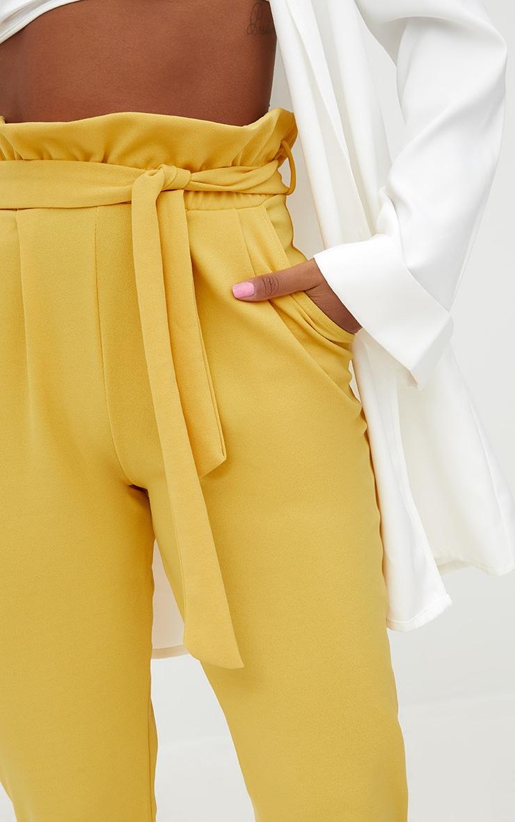 Mustard Paperbag Slim Leg Pants 5