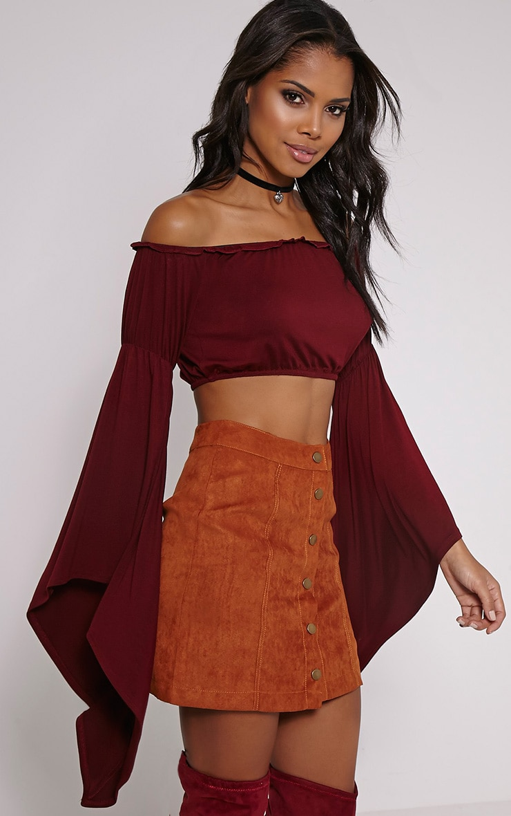 Lettie Burgundy Extreme Flare Bardot Crop Top 1