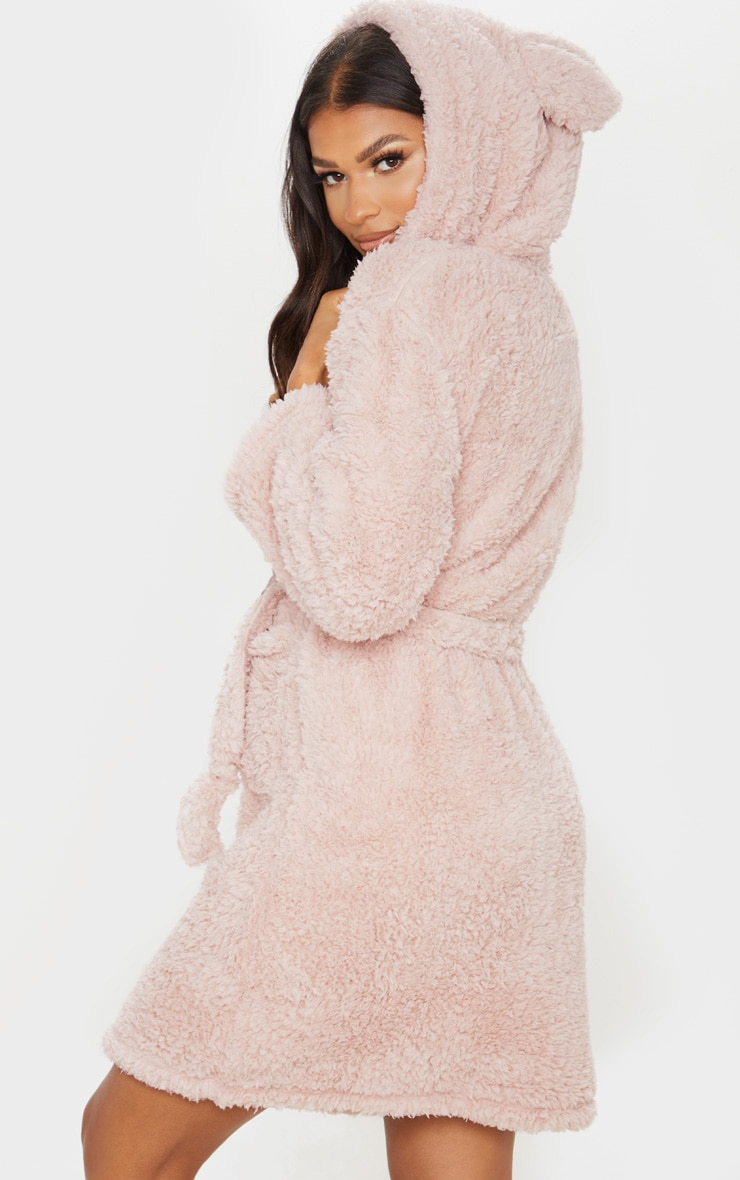 Taupe Teddy Ear Fluffy Robe 2