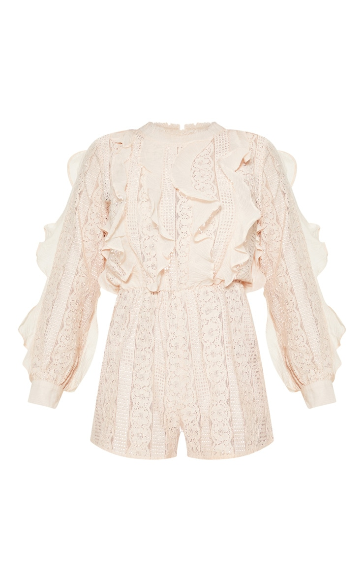 Dusty Pink Lace Frill Detail Long Sleeve Playsuit 3