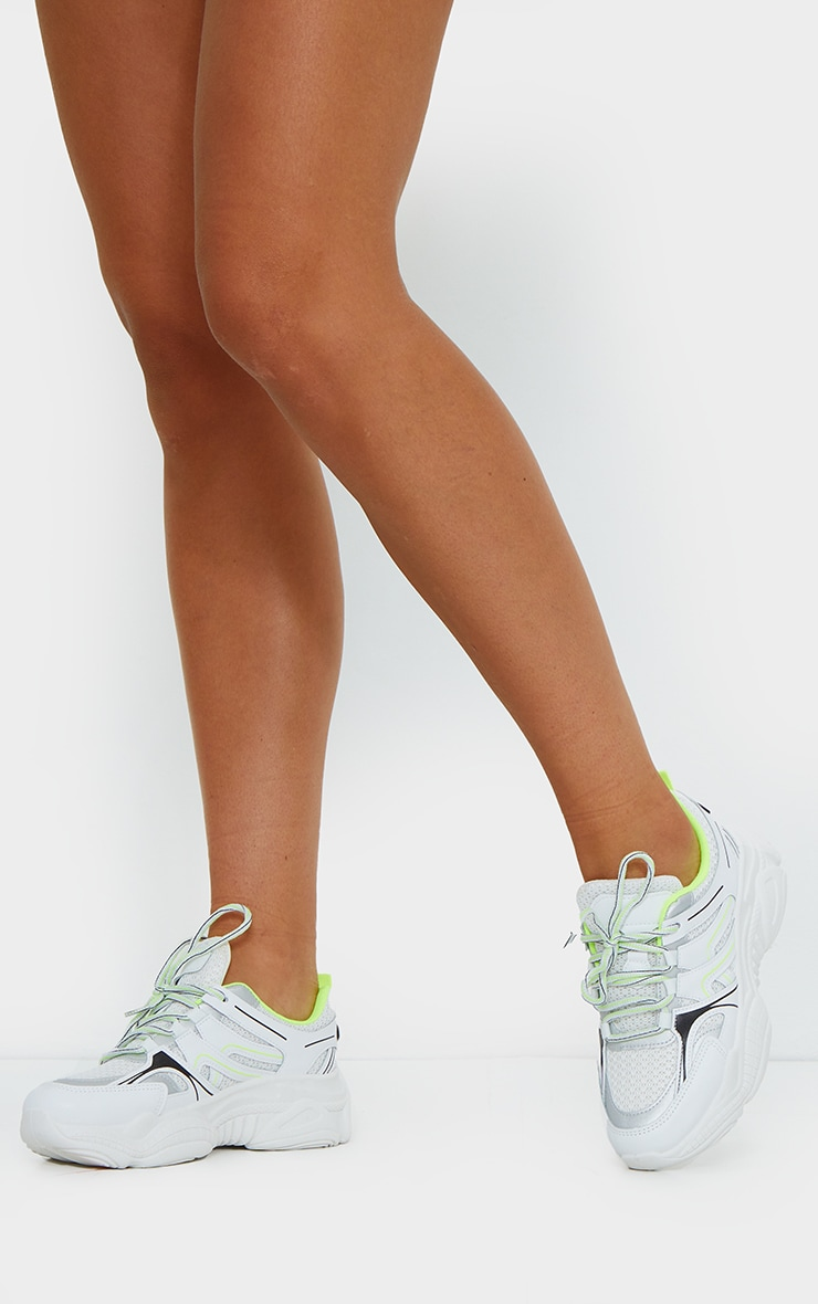 Neon Lime White Mesh Contrast Trainers 1
