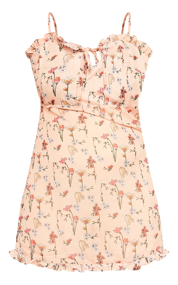 Peach Garden Print Chiffon Mini Beach Dress 7