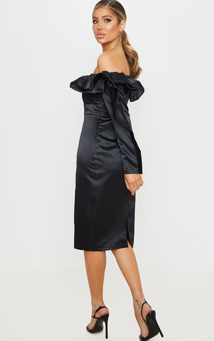 Black Bonded Satin Bardot Ruffle Midi Dress 2