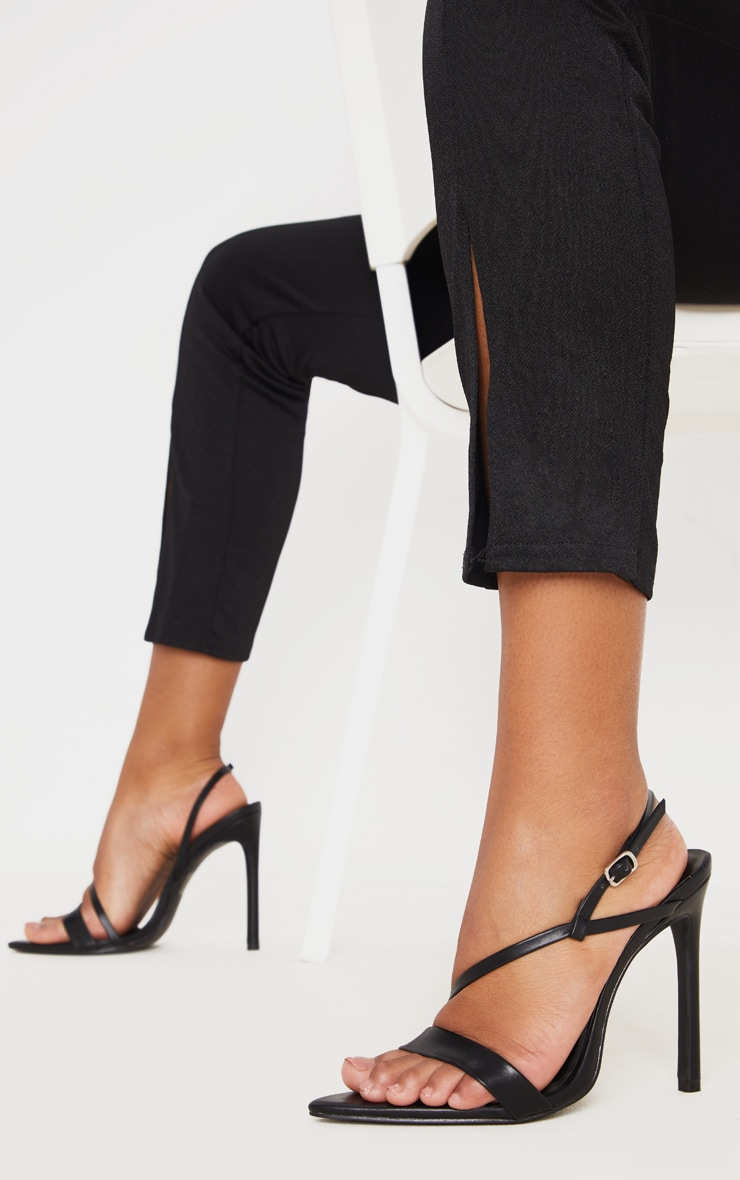 Black Asymmetric Strap Point Toe Heeled Sandal 1
