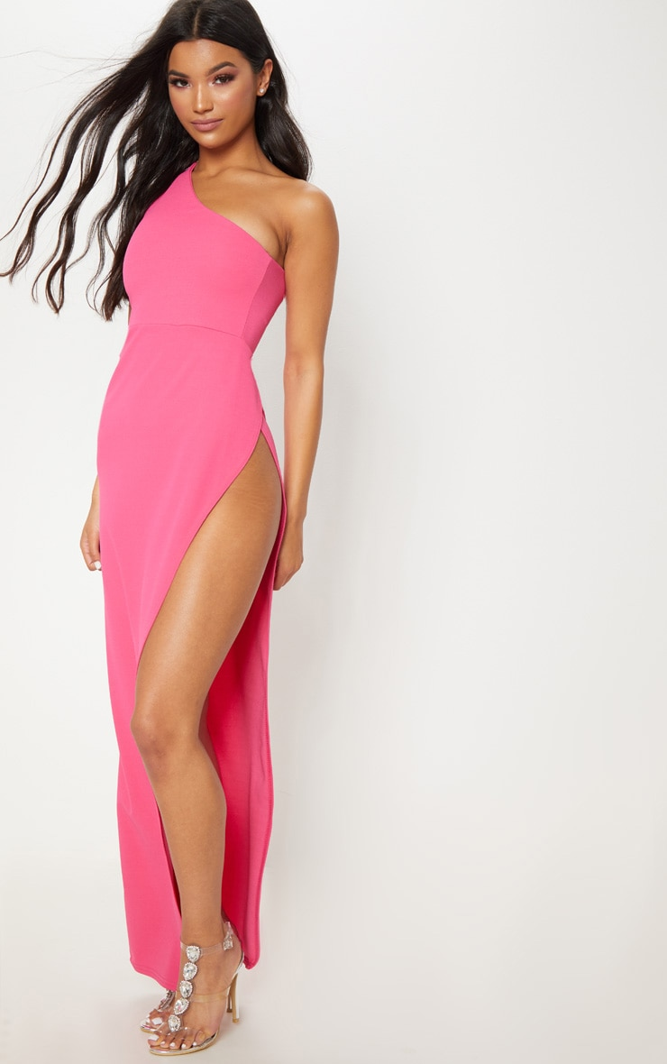 Fuchsia One Shoulder Extreme Leg Split Maxi Dress 1