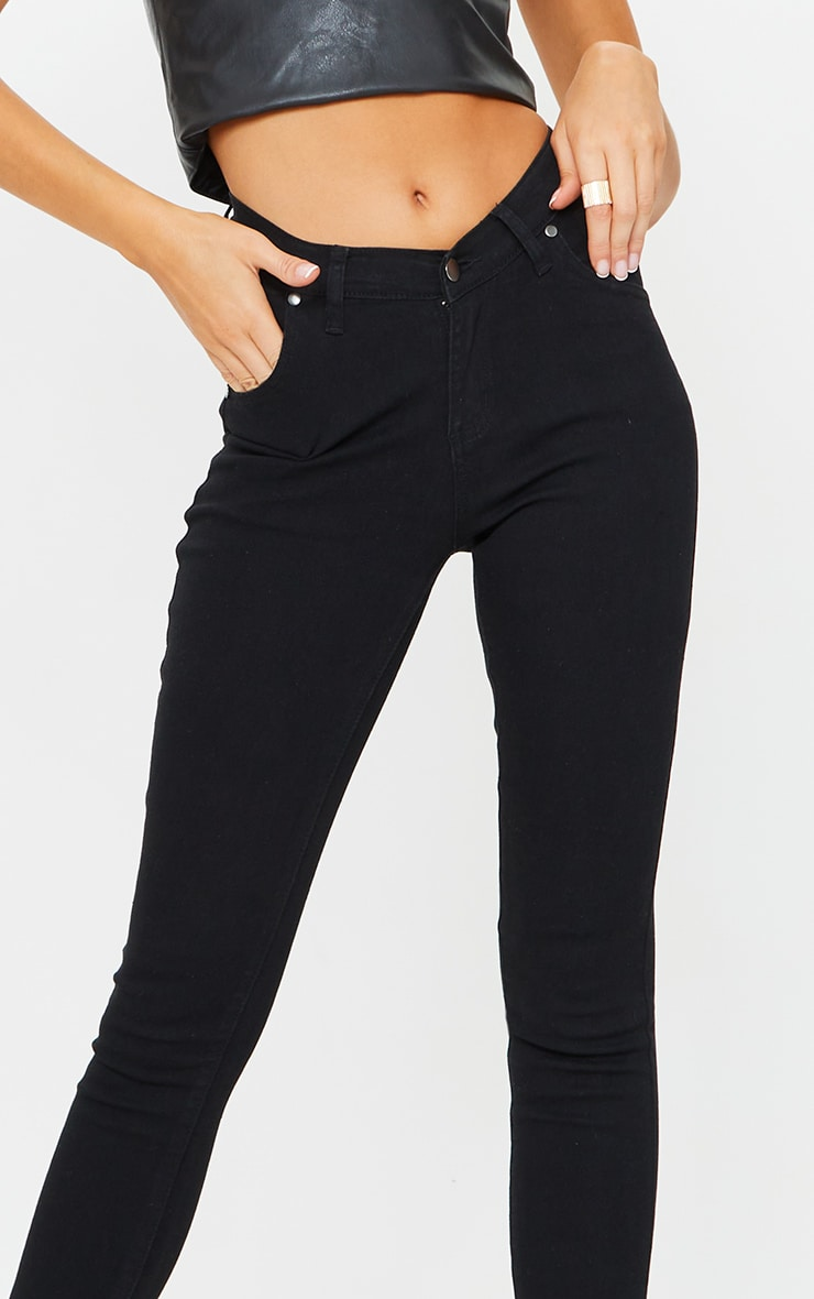 Black Dipped Waistband Skinny Jeans 4