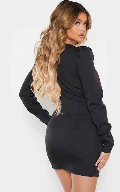 Black Lace Up Cup Detail Long Sleeve Bodycon Dress
