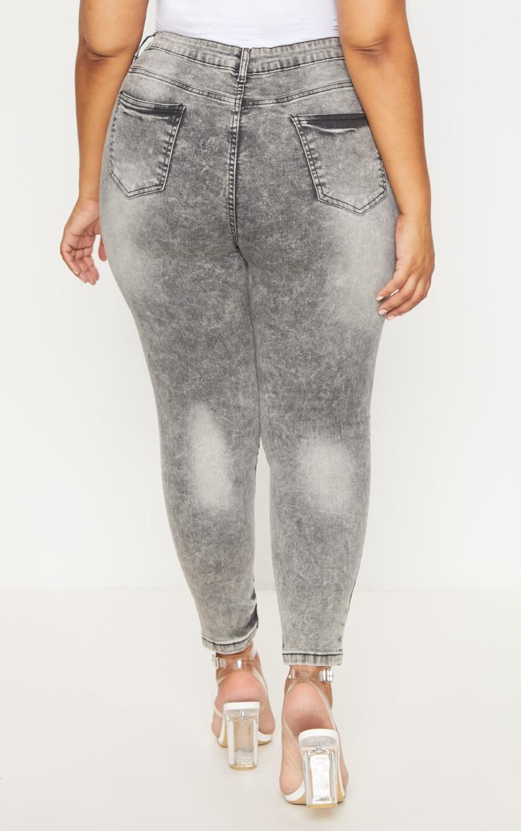 Plus Grey Acid Wash Skinny Jeans 4