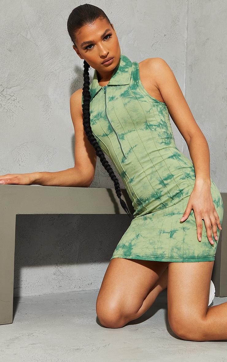Green Tie Dye Zip Up Collar Detail Sleeveless Bodycon Dress 1