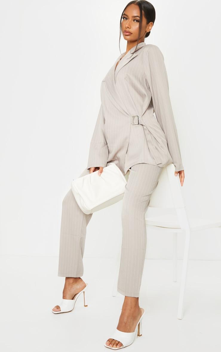 Light Grey Pinstripe Belted Straight Leg Pants 1