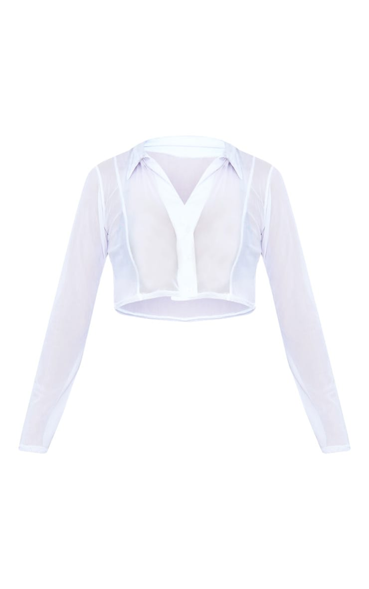 White Sheer Mesh Long Sleeve Crop Shirt 6