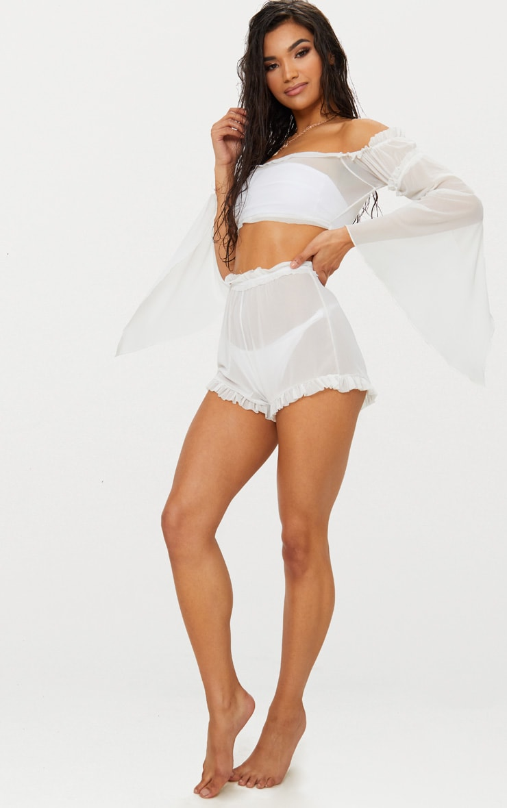 White Frill Detail Long Sleeved Bardot Beach Top 4