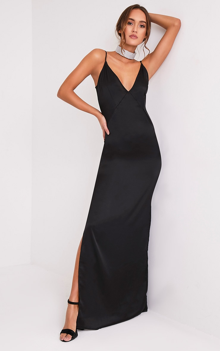 Carsia Black Silky Cami Slip Maxi Dress 1