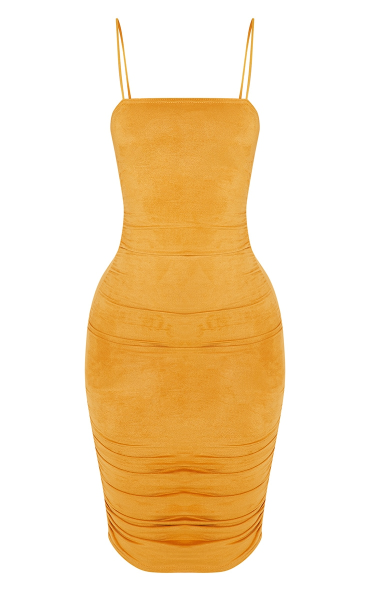 Shape Mustard Faux Suede Ruched Midi Dress 3