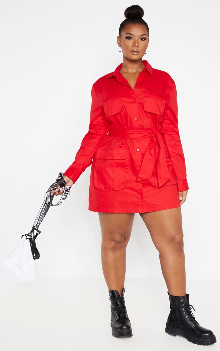 Plus Red Utility Shirt Dress 4