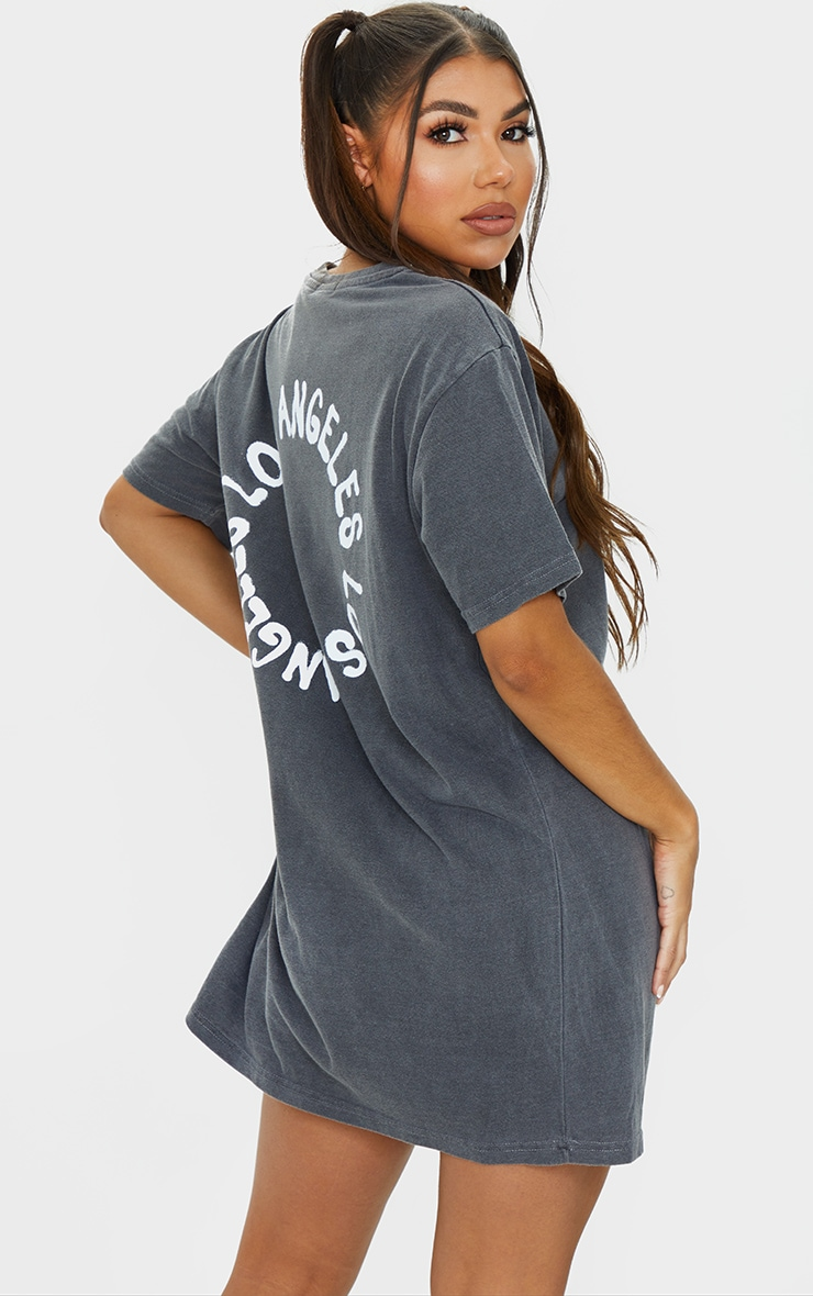 Black Washed LA Oversized T Shirt Dress 2