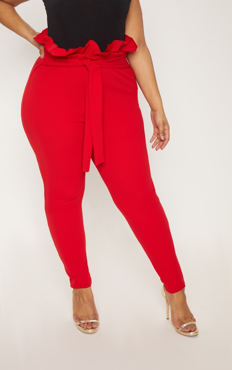 Plus Red Paperbag Skinny Trousers 2