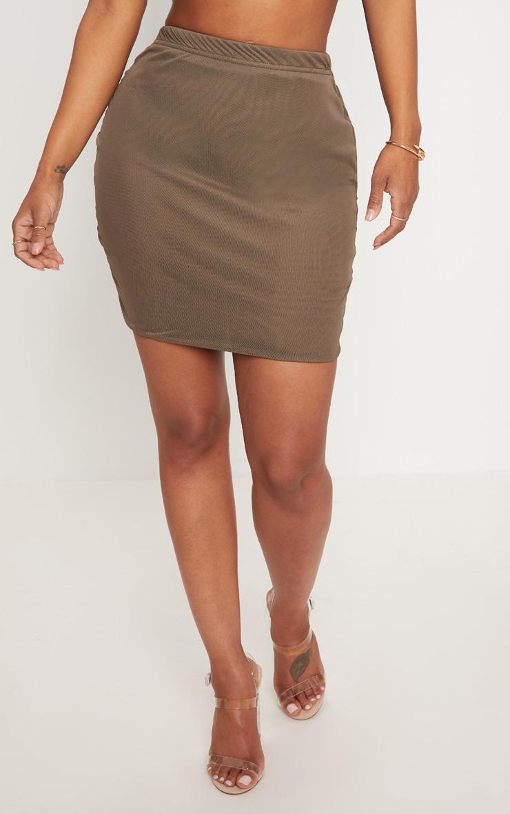Shape Khaki Mesh Bodycon Skirt 2