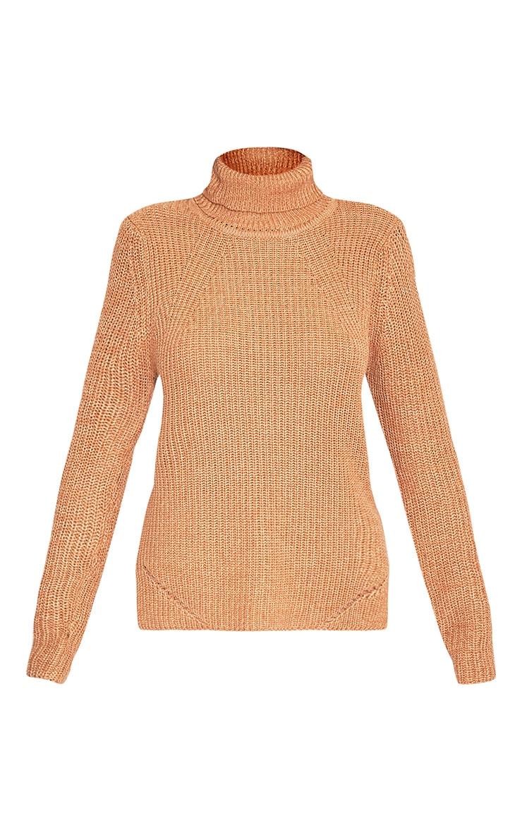 Soraya pull tricoté à col roulé brun 3
