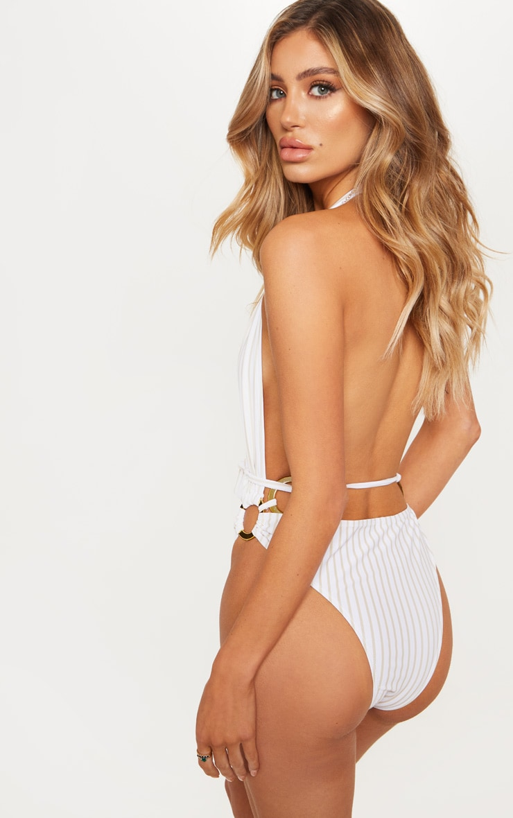 White Halterneck Striped Ring Belted Swimsuit 3