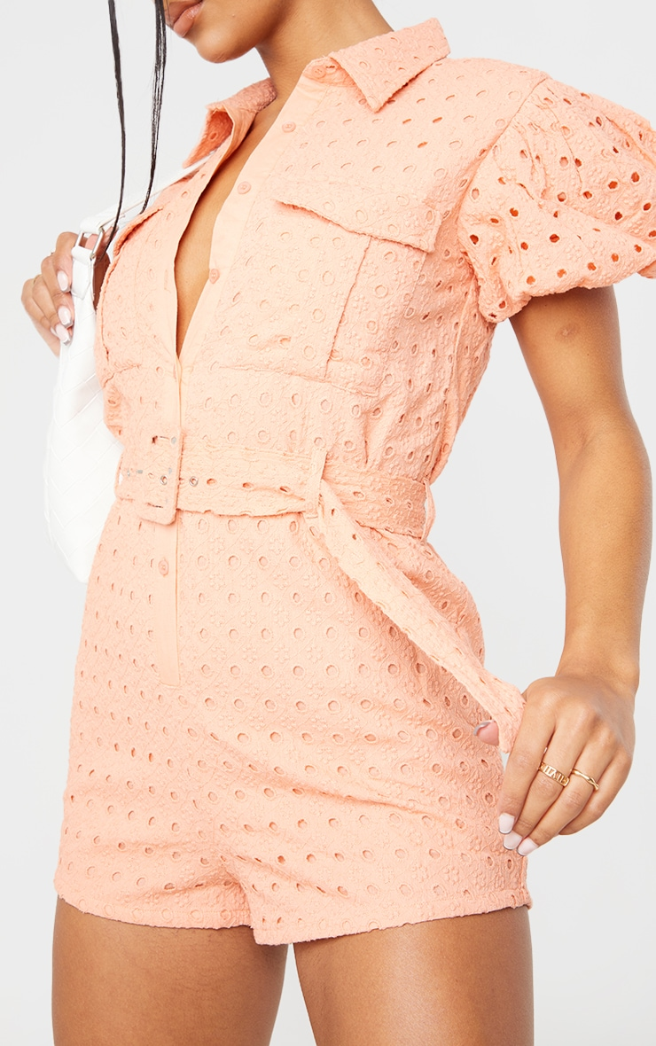 Peach Broderie Anglaise Belted Short Sleeve Shirt Romper 4