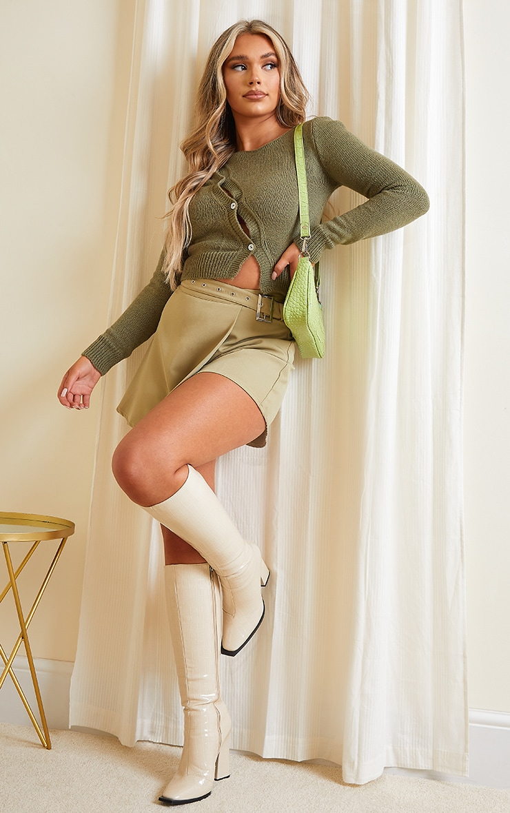 Olive Asymmetric Button Knitted Cardigan 3